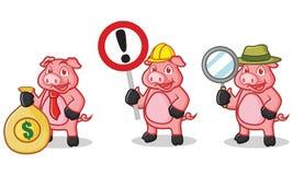 Mascotte rose-foncé de porc avec le signe Images stock