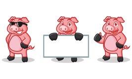 Mascotte rose-foncé de porc heureuse Image libre de droits