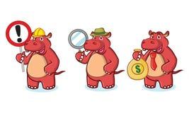 Mascotte rossa dell'ippopotamo con soldi Fotografia Stock