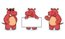 Mascotte rossa dell'ippopotamo felice Fotografia Stock Libera da Diritti