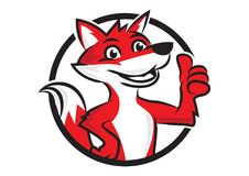 Mascotte rotonda e caricatura di Fox rosso fotografia stock libera da diritti