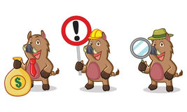 Mascotte selvaggia del maiale di Brown con soldi Immagine Stock Libera da Diritti