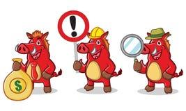 Mascotte selvaggia rossa del maiale con soldi Immagine Stock Libera da Diritti