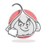 Mascotte sicura dell'aglio, carattere dell'aglio, fumetto dell'aglio Fotografia Stock