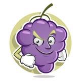 Mascotte sicura dell'uva Vettore del carattere dell'uva Logo dell'uva Immagini Stock