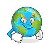 Mascotte sicura della terra, carattere della terra, vettore del fumetto della terra Fotografia Stock Libera da Diritti
