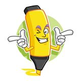 Mascotte sorridente funky dell'evidenziatore, carattere dell'evidenziatore, indicatore Immagini Stock Libere da Diritti