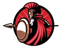 Mascotte spartana con l'arma della lancia illustrazione di stock