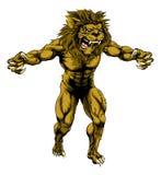 Mascotte spaventosa di sport del leone Fotografia Stock Libera da Diritti