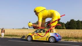 Mascotte traditionnelle de caravane de publicité Photographie stock libre de droits