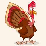 Mascotte van dankzeggings de gelukkige Turkije op witte achtergrond Stock Foto