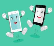 Mascotte van de beeldverhaal de mobiele telefoon Stock Afbeeldingen
