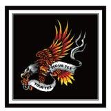 Mascotte van de beeldverhaal de kale Amerikaanse adelaar stock illustratie