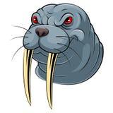 Mascottehoofd van een walrus stock illustratie