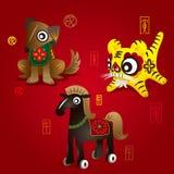 Mascottes chinoises de zodiaque : Crabot, tigre et cheval Photos libres de droits