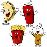 Mascottes de dessin animé de festin d'aliments de préparation rapide Photo libre de droits