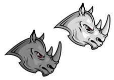 Mascottes de rhinocéros de bande dessinée Images stock