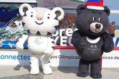 Mascottes de Soohorang et de Bandabi des Jeux Olympiques d'hiver de Pyeongchang Photos stock