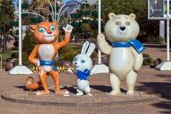 Mascottes des Jeux Olympiques d'hiver 2014 Sotchi Russie Images libres de droits