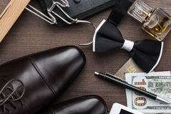 Masculine accessories on the table Royalty Free Stock Image