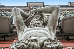Masculine Atlant. Masculine figure of the Atlantean of the Beloselsky-Belozersky Palace in St. Petersburg Royalty Free Stock Image