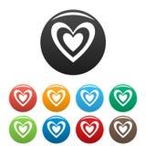 Masculine heart icons set color vector. Masculine heart icon. Simple illustration of masculine heart vector icons set color isolated on white Stock Photos