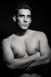 Masculine male model with naked torso Stock Photos