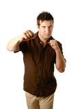 Masculine man in boxing stance Royalty Free Stock Image