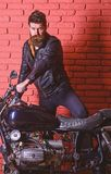 Masculine passion concept. Hipster, brutal biker on serious face in leather jacket gets on motorcycle. Man with beard. Biker in leather jacket near motor bike stock photos