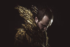 Masculinity, man beard and suit made with golden wings. Fantasy, man beard and suit made with golden wings concept Royalty Free Stock Photos