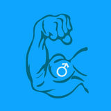 Masculinity. Vector cartoon illustration of Biceps with symbol of male gender on blue background. Metaphor of masculism / masculinism of strong men. Defiance to vector illustration