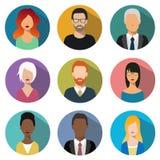 Masculino y hembra hace frente a avatares Iconos de la muestra del usuario Foto de archivo libre de regalías