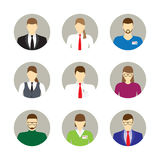 Masculino y hembra hace frente a los avatares, iconos Hombres de negocios Foto de archivo