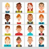 16 masculinos e grupo fêmea do avatar ilustração stock