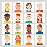 16 masculinos y sistema femenino del avatar Imagenes de archivo