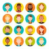 16 masculinos y sistema femenino del avatar stock de ilustración