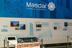 Masdar City/UAE- 13-ое ноября 2017: Парк демонстрации для плана города Masdar в Абу-Даби Стоковые Изображения RF