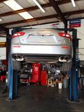 Maserati back end. On the lift 2015 maserati think I Stock Photo