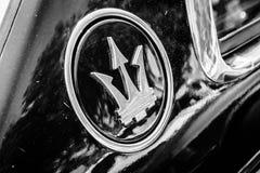 Maserati car emblem. BERLIN, GERMANY - MAY 17, 2014: Maserati car emblem. Black and white. 27th Oldtimer Day Berlin - Brandenburg Stock Images