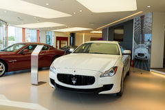 Maserati cars for sale. Maserati cars in showroom for sale Royalty Free Stock Image