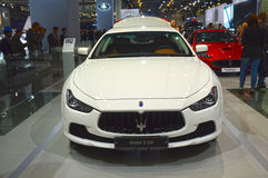Maserati Chibli S Q4 白色颜色 莫斯科国际汽车沙龙 免版税图库摄影