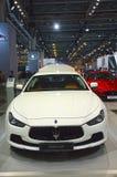Maserati Chibli S Q4 Biały kolor Moskwa samochodu salonu Międzynarodowy połysk Zdjęcia Stock
