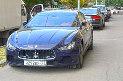 Maserati. Dark blue. Shine Heat Stock Photography