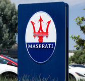 Maserati Dealership Sign and Logo Stock Photography