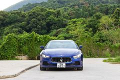 Maserati Ghibli sport sedan test drive Stock Photos