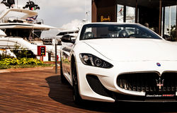 Maserati GranCabrio left side  in italy Stock Images