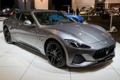 Maserati GranCabrio Sport sports car. BRUSSELS - JAN 10, 2018: Maserati GranCabrio Sport GranTurismo Convertible sports car showcased at the Brussels Motor Show Royalty Free Stock Images