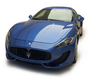 Maserati GranTurismo Sport. Blue Maserati GranTurismo Sport car with shadow isolated on white background Royalty Free Stock Photo