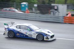 Maserati Granturismo Sport GT4 in action. Photo taken at the Monza circuit in occasion of the first 2019 Endurance Series race of the Italian GT Championship royalty free stock photo