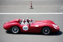 Maserati 250 SI 1957 at the Mille Miglia. Classic Racing Car takes part in the Monza Circuit Stage for the 2015 Mille Miglia Stock Image